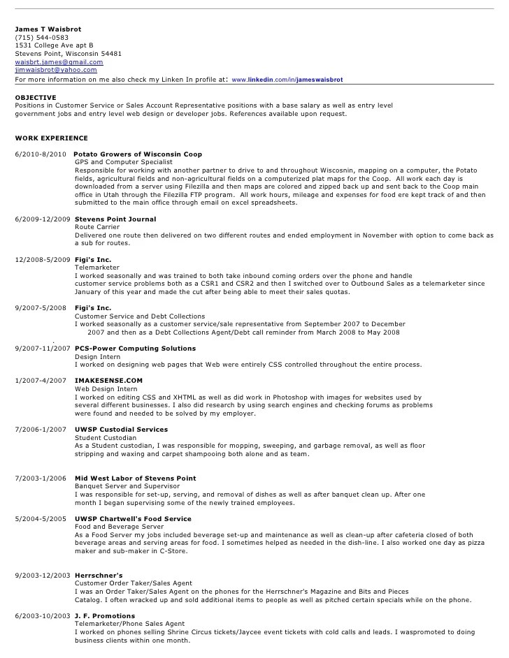 Resume Samples For Students – Pizza Maker Resume