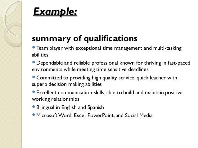 qualifications for job resume - Jolivibramusic - statement of qualifications sample