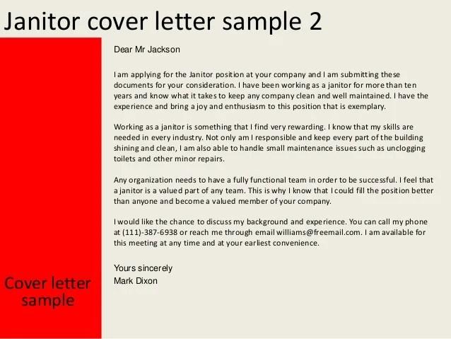 janitor cover letter sample