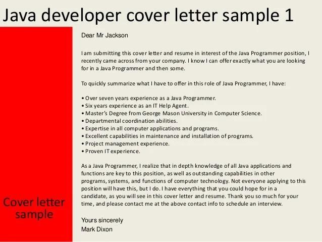 Java Developer Cover Letter