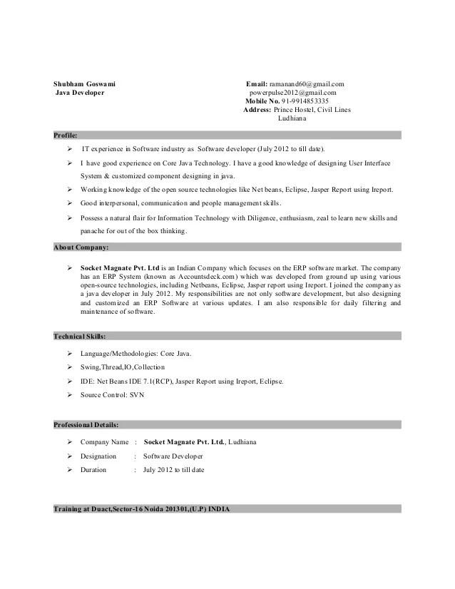 core java developer resume sample - Ozilalmanoof