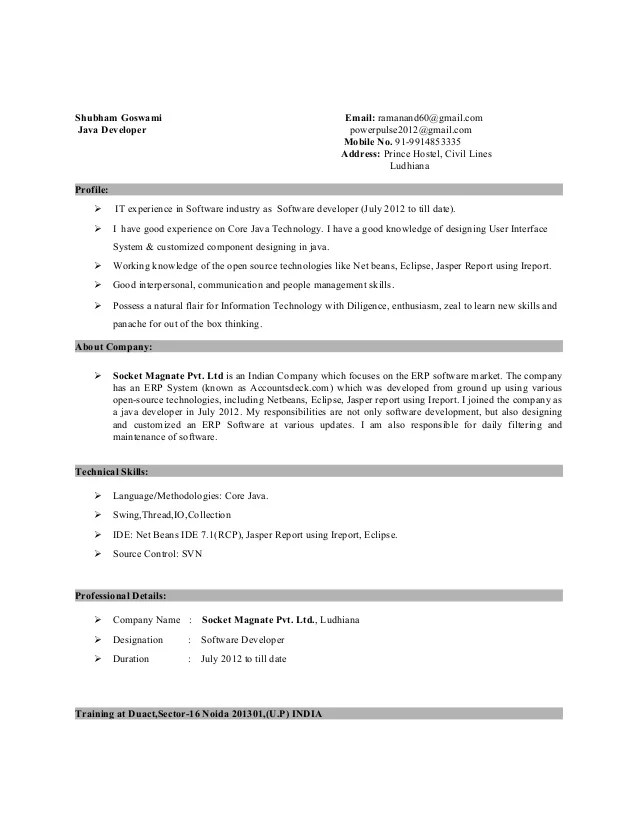 Sample Resume For 1 Year Experienced Android Developer – Android Developer Resume