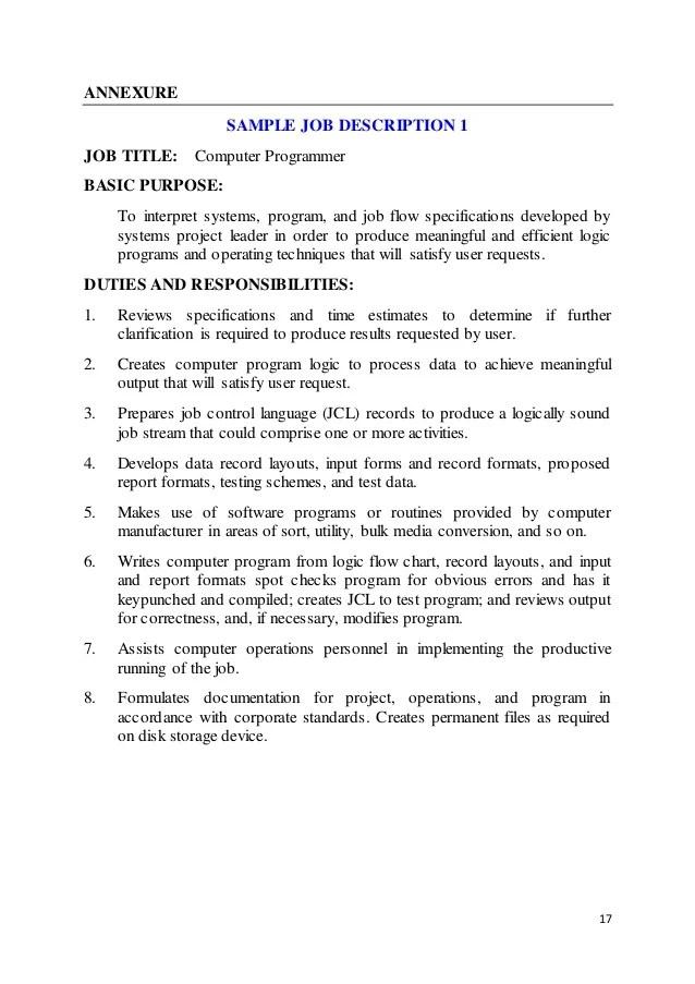 Computer Programmer Job Descriptions Job Description Sample - system programmer job description