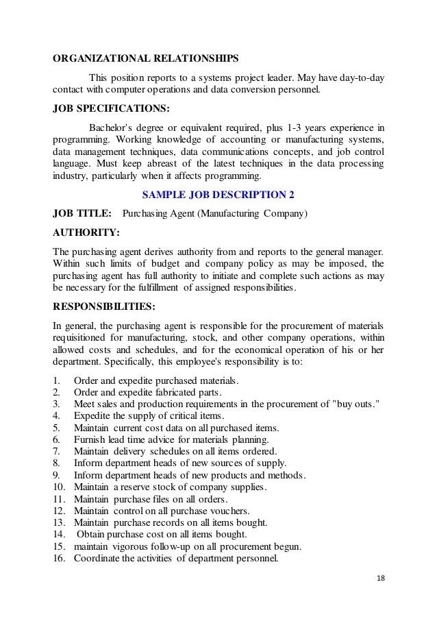 manufacturing manager job description samples - Towerssconstruction