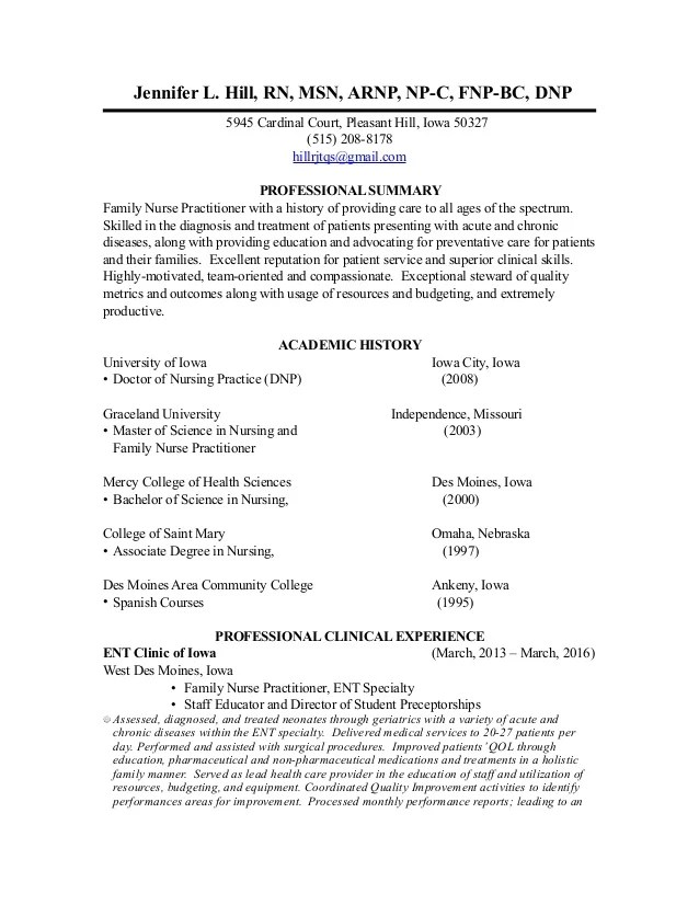 arnp resume examples