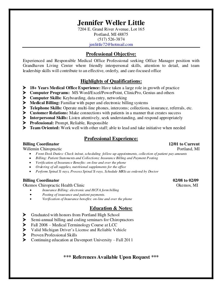 front desk duties for resumes