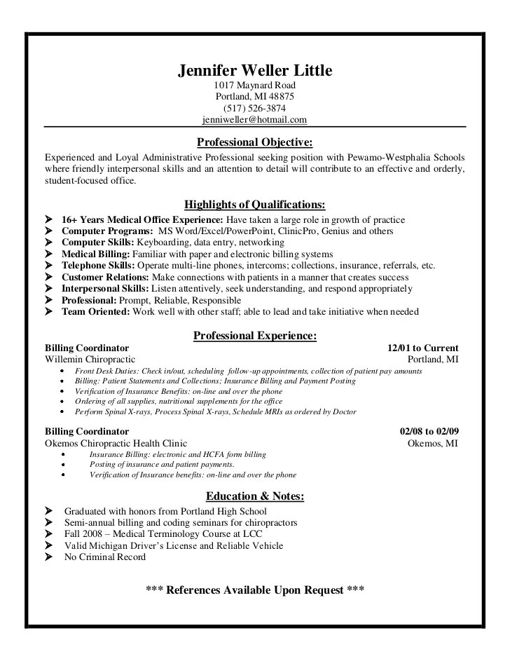 resume sample medical billing specialist