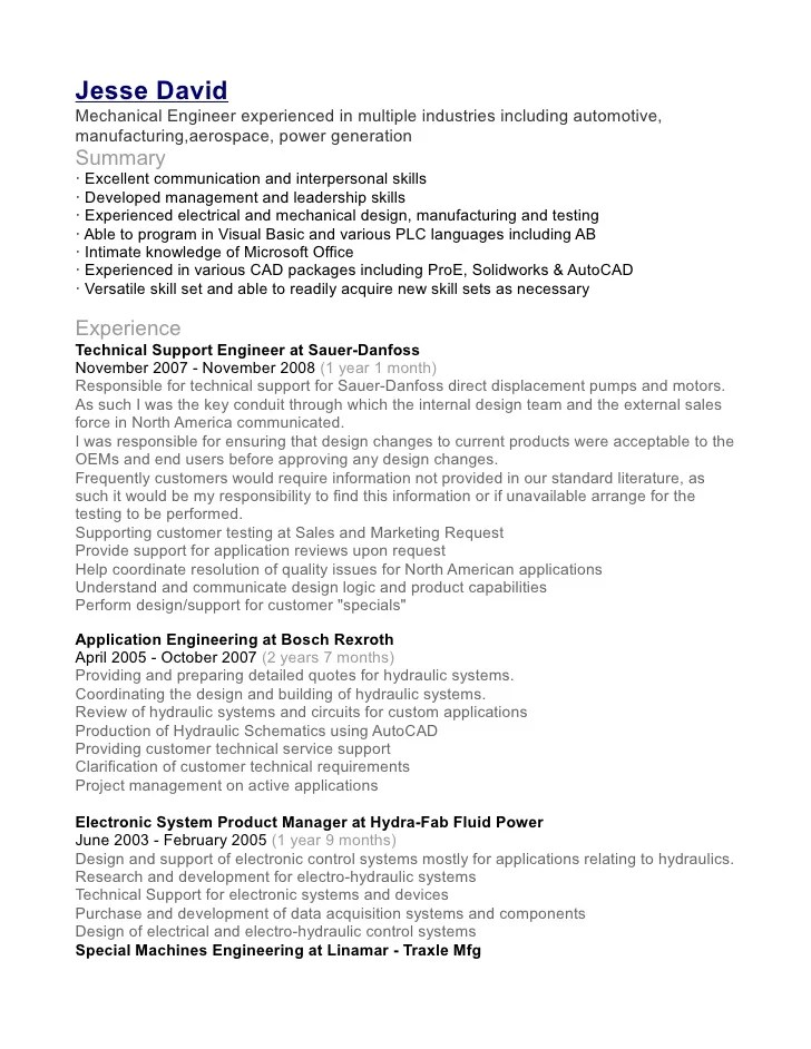 Example Of Resume For Quality Engineer Programmer Software Engineer Curriculum Vitae Example Jesse David Mechanical Engineer Resume