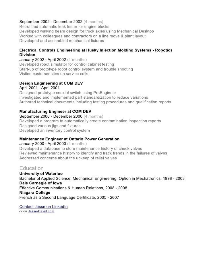 Resume robotics engineer