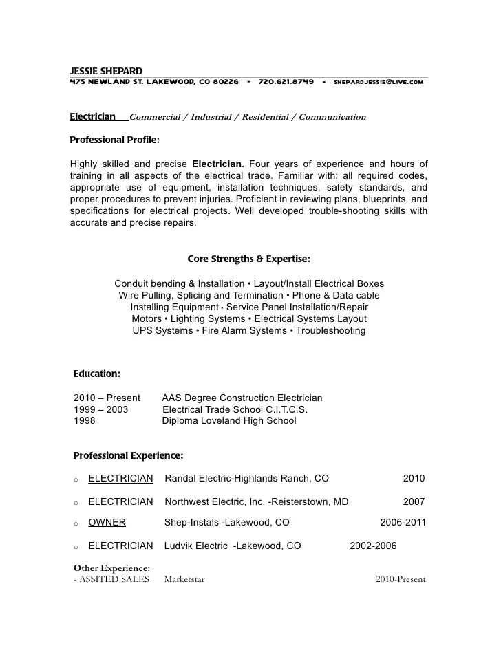 electrician resume templates resume format download pdf - Electrician Resume Templates