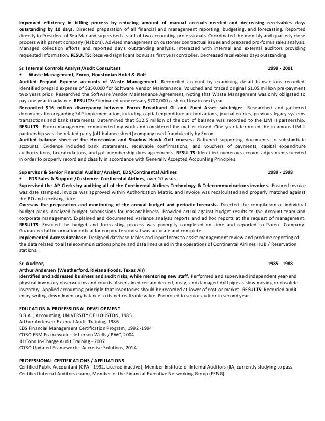 external auditor resume - Goalgoodwinmetals