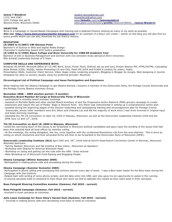 political campaign resume - Kordurmoorddiner