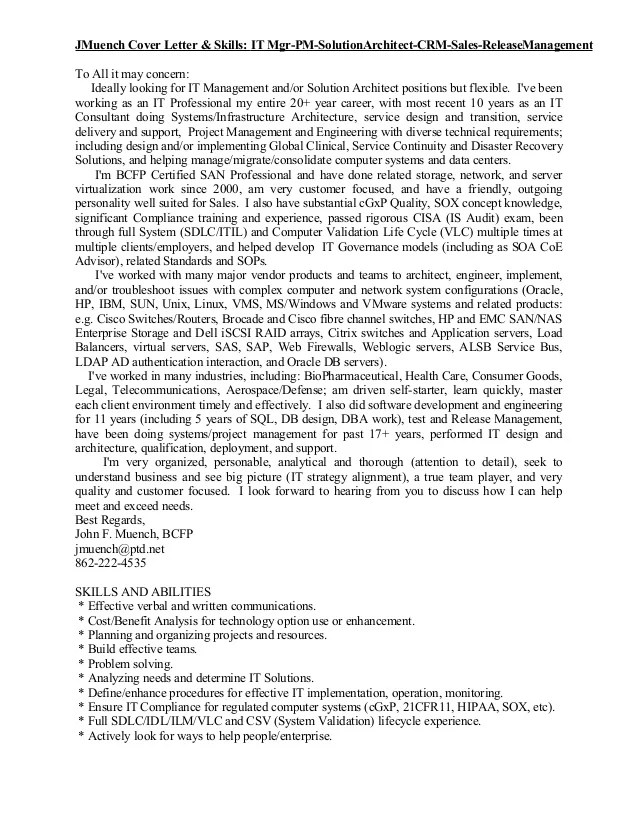 Sample Solution Architect Cover Letter Technical Architect Sample