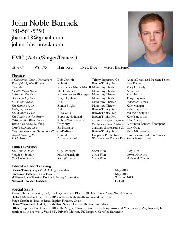 kids theater resume samples