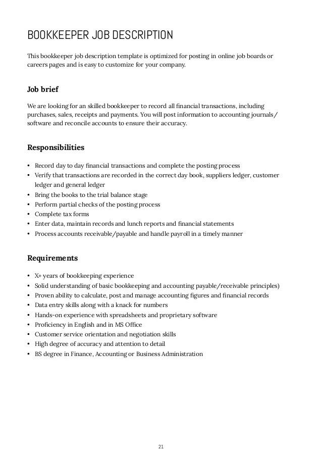 part time bookkeeper job description - Canreklonec - samples of job descriptions