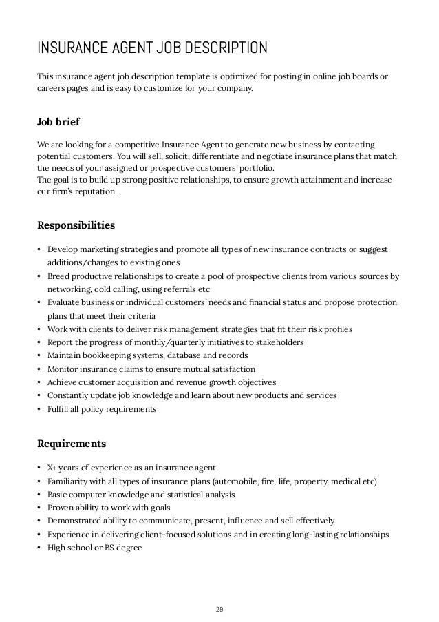 insurance agent job description real estate agent resume example