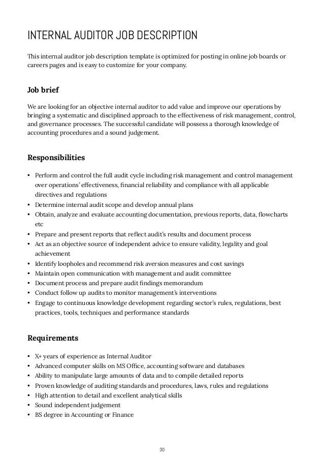 it auditor job description - Josemulinohouse - Auditor Job Description