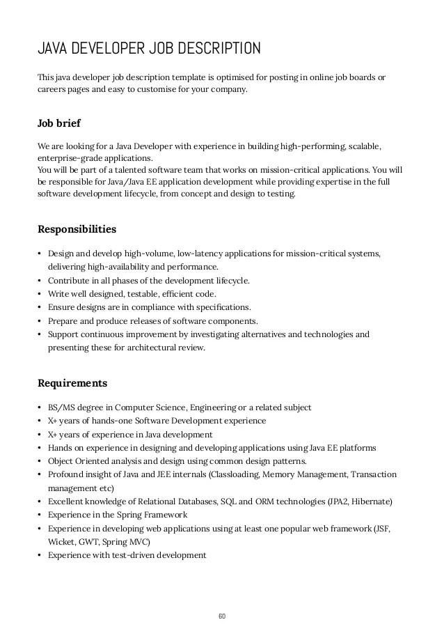 7 how to write job descriptions java developer job description