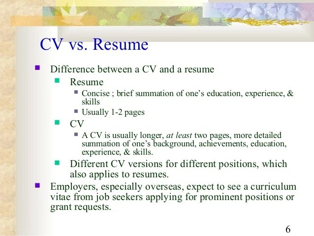 differences between resume and curriculum vitae - Intoanysearch