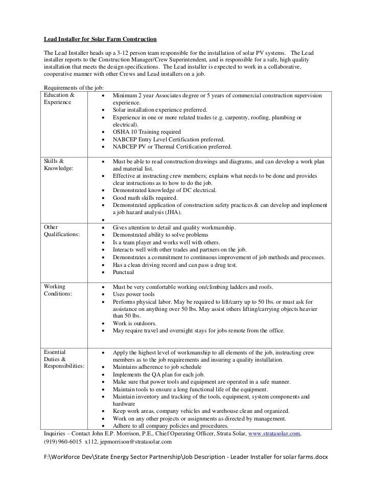 solar installer resume template