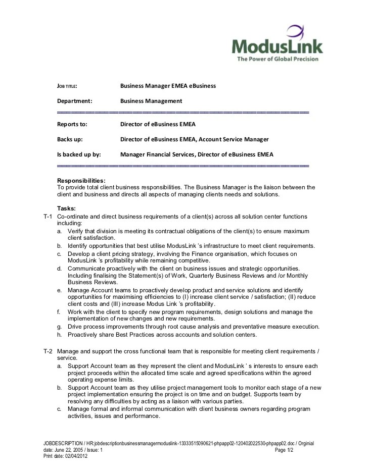 Job Description Template Business Manager | Staff Paper Notes