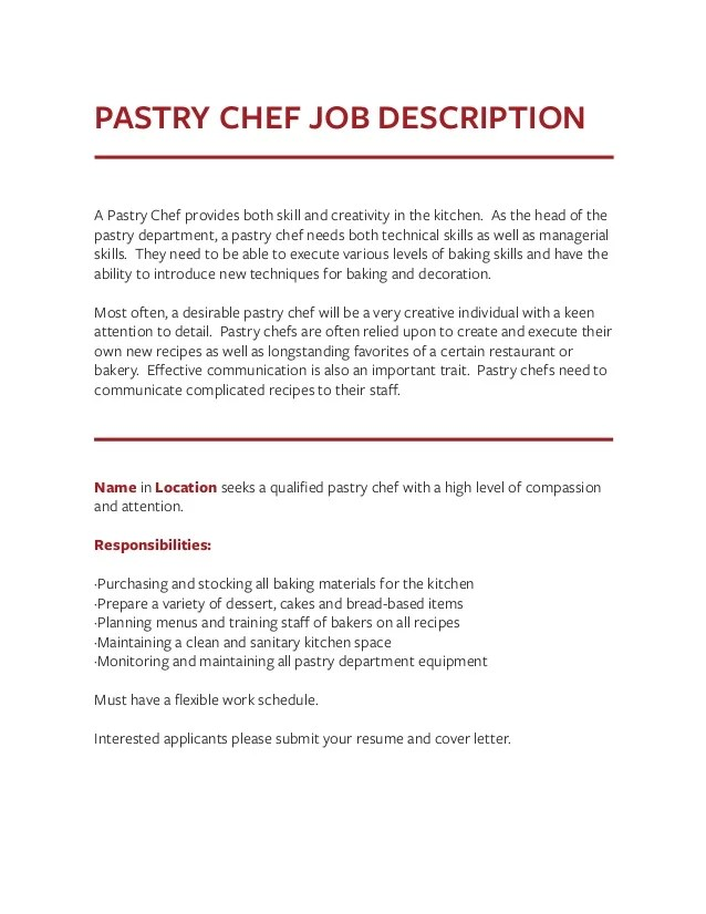 job description of a pastry chef - Onwebioinnovate - baker pastry chef sample resume
