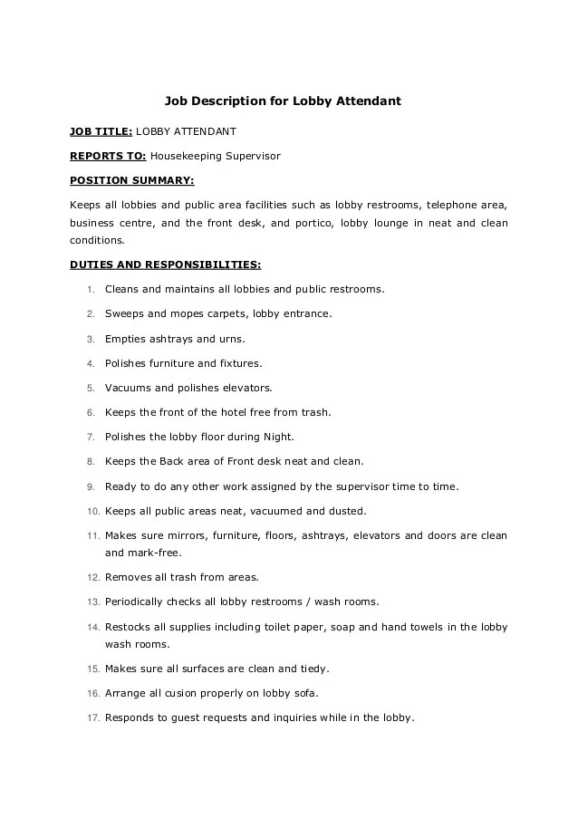 job description for housekeeping - Ozilalmanoof