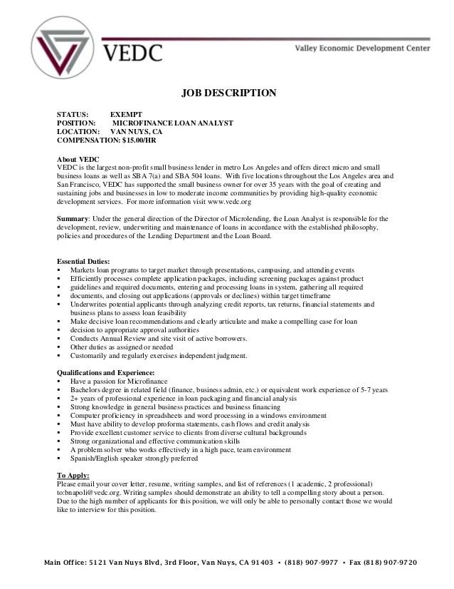 Job description loan analyst - VEDC