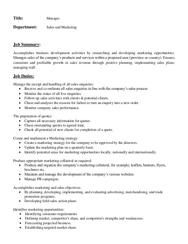 Job Description Marketing Director Sample | Blank Invoice Template