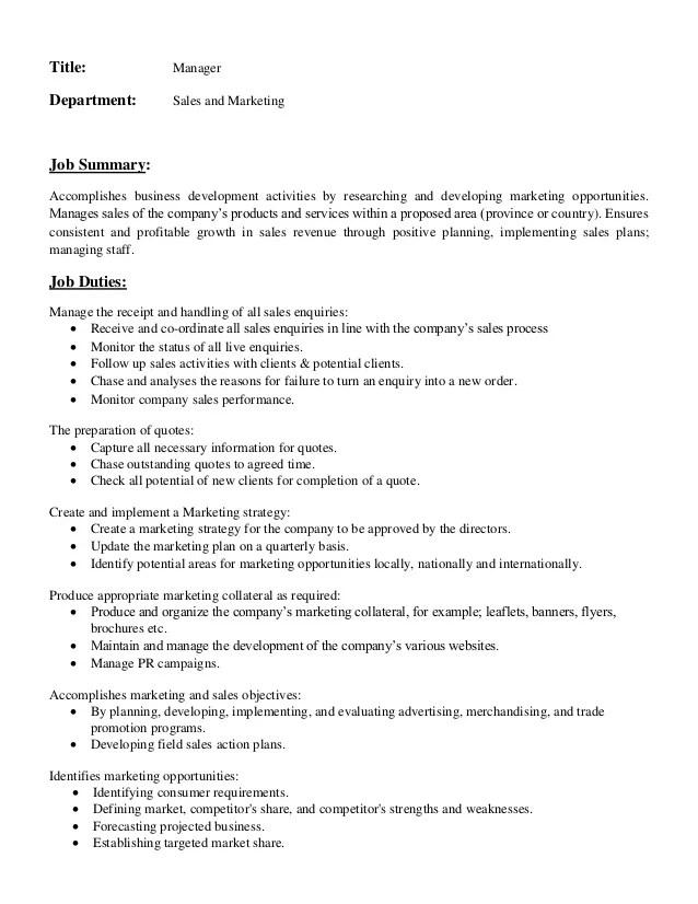 Sales Director Job Description Sales Directors Resume Sales