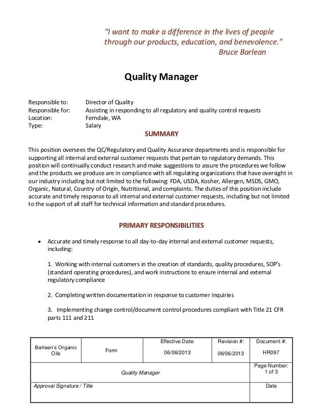 Manager Resume Description Office Manager Resume Sample Tips Resume Genius Job Description Quality Manager