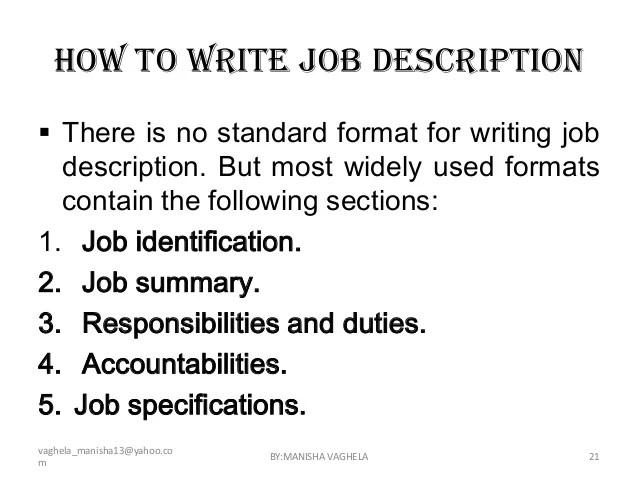 Free Job Description Duties Cover Letters And Resume Job Descriptions