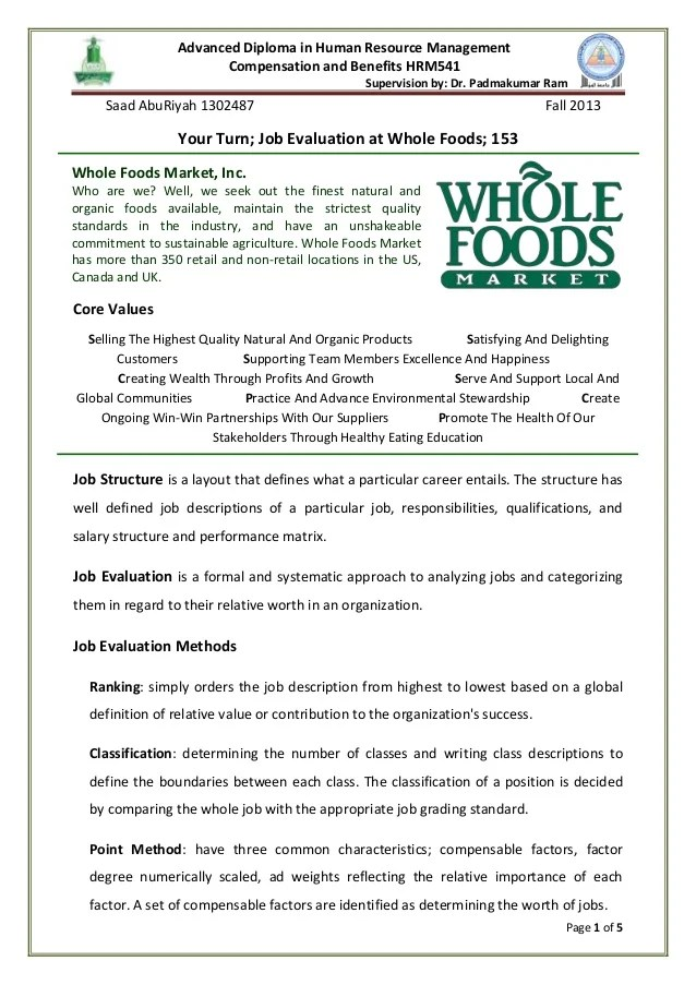 Case Studies In Business Management Cases Strategy Whole Foods Case Study Job Structure