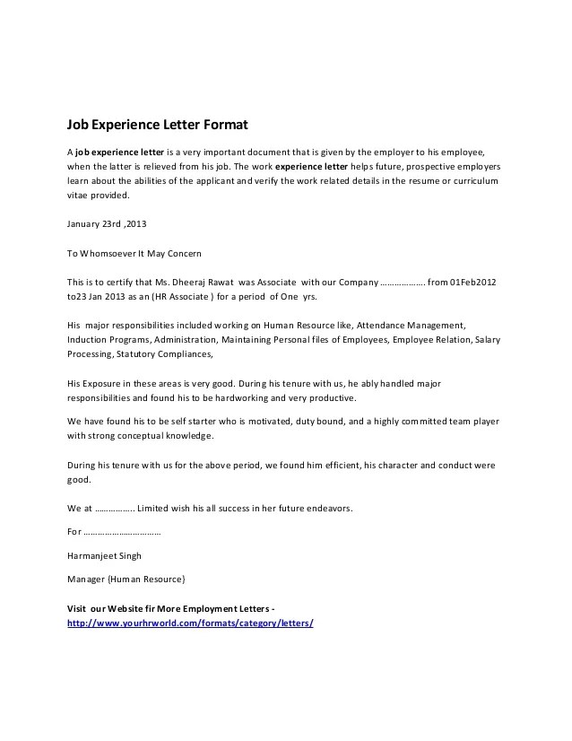 resume format with work experience