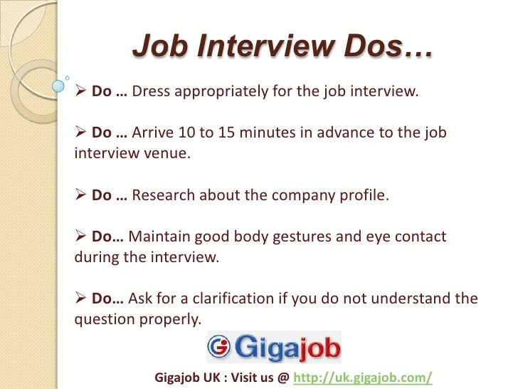 dos and donts during interview - Goalgoodwinmetals