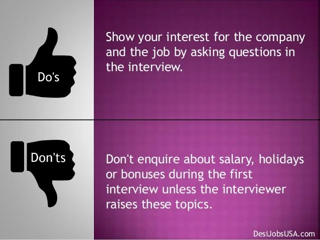 dos and don ts during job interview