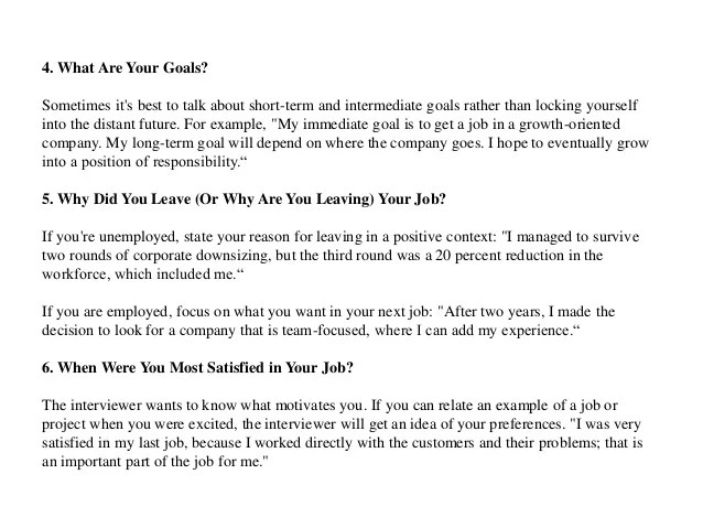 sample job interview questions and answers - Maggilocustdesign