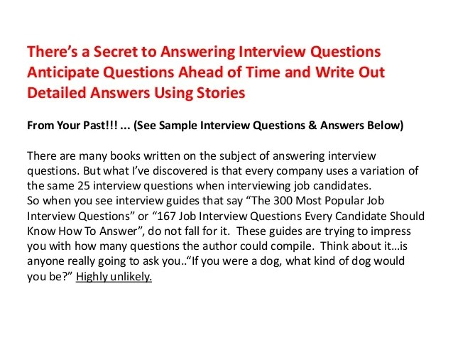 sample job interview answers