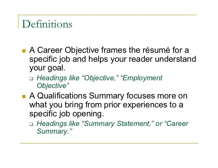 resume statement vs objective