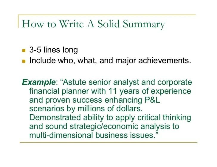how to write a career summary - Josemulinohouse - how to write a job summary