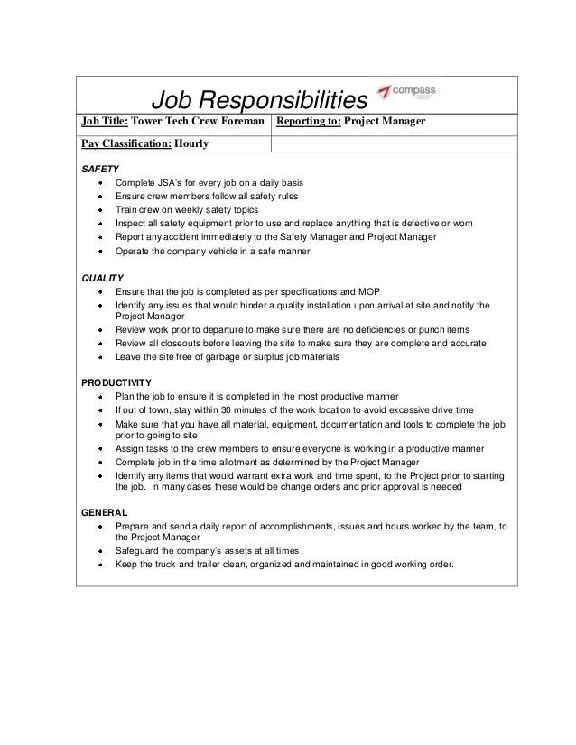 tower climber resume sample