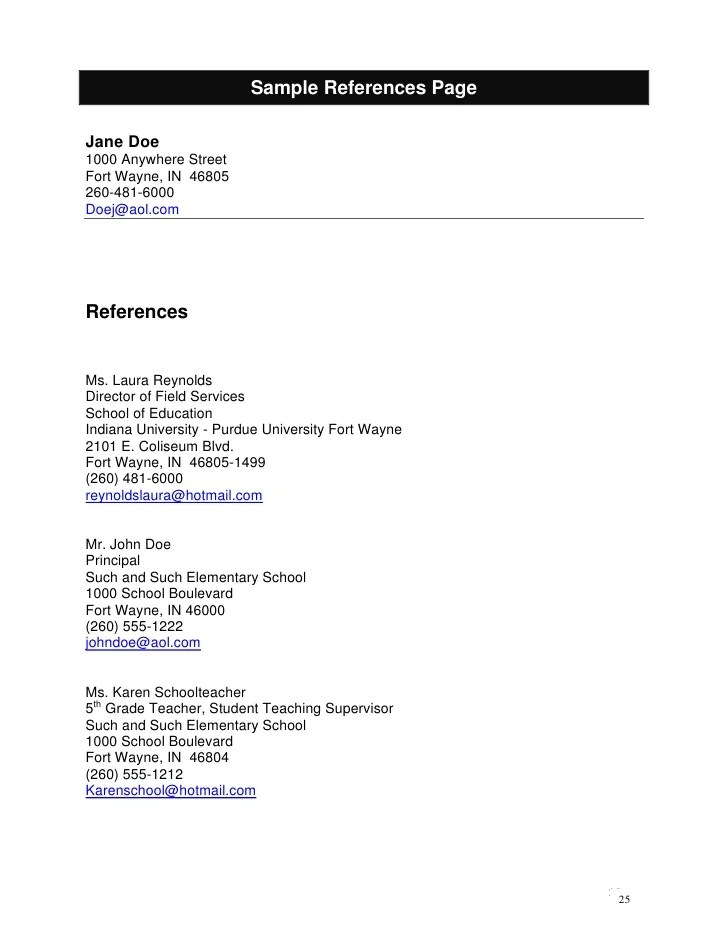 reference list job