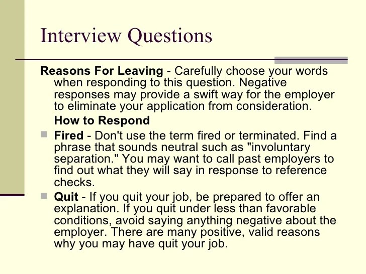 resume reasons for leaving examples