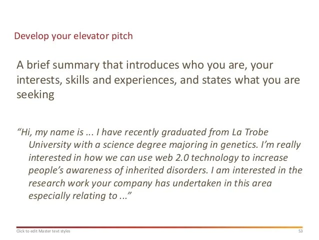 Pitch Letter Samples Jobsearch Masterclass Presentation Mid 2013