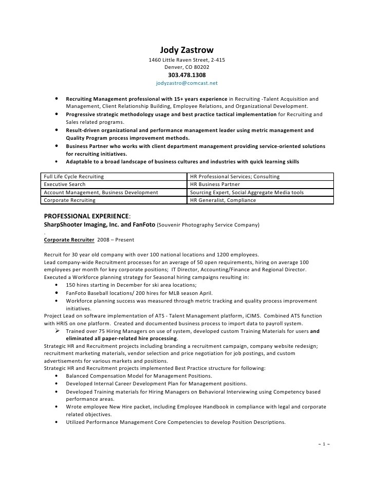 hr recruiter resume - Tomburmoorddiner