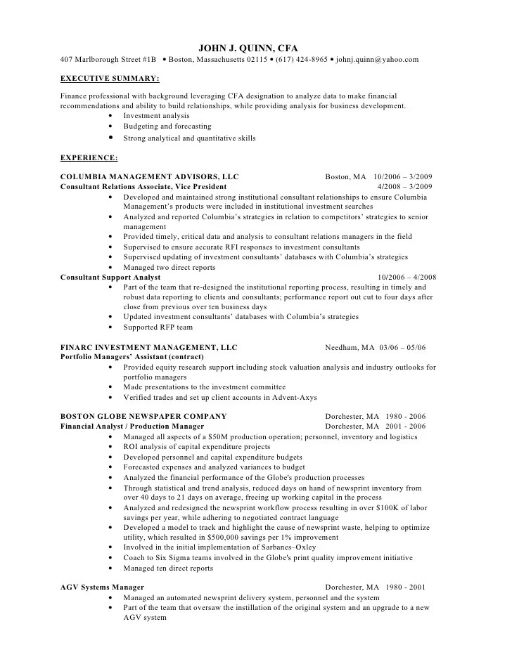 cfa resume rules