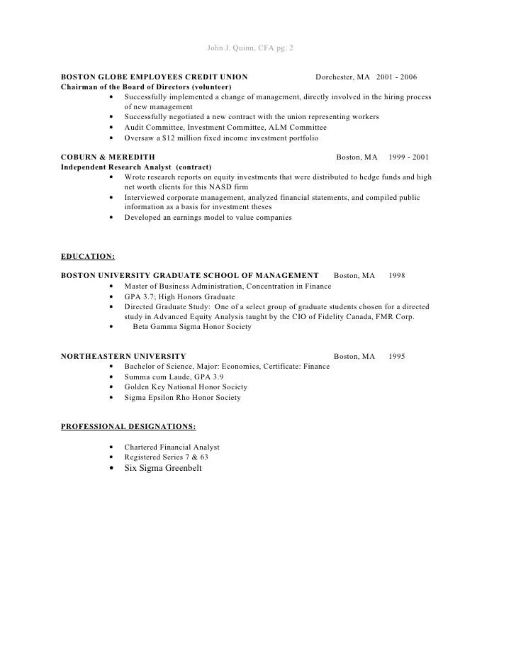 cfa designation on cv