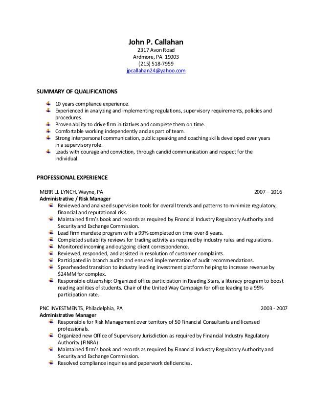 Resume compliance analyst