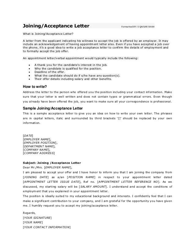 acceptance offer letter - Pinarkubkireklamowe