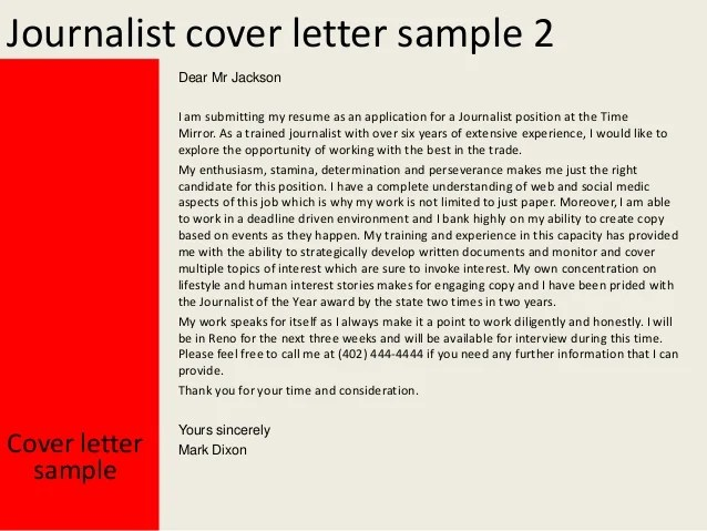 cover letter for resume journalism
